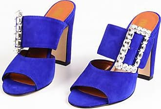 PARIS TEXAS Suede Mules with Jewel Buckle 11 cm size 35,5