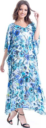 101 Resort Wear Vestido Kaftan 101 Resort Wear Longo Crepe Estampado Floral Azul