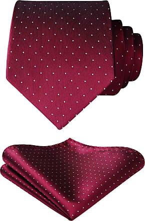 Hisdern Extra Long Tie Handkerchief Mens Polka Dots Necktie & Pocket Square Set