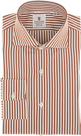 Cordone 1956 Camicia sartoriale Mod. Popeline Stripes Orange and White Shirt By-Hand - Tessuto cotone - popeline - Colore arancio - Taglia 36