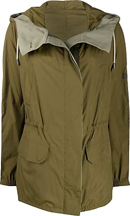 Yves Salomon - Army colour block hooded rain coat - Green