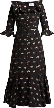 Erdem Opaline Ottman Fil-coupé Coton-blend Midi Dress - Womens - Black Multi