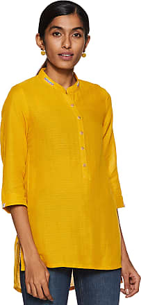 Biba Womens Cotton Straight Kurta (CORE14627MUSTARD_ Must_ XL (38))