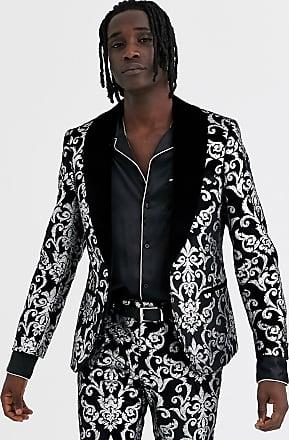 Twisted Tailor Giacca da abito skinny in velluto nero con stampa argento