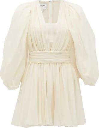 Giambattista Valli Plunge-neck Gathered Silk-georgette Mini Dress - Womens - White