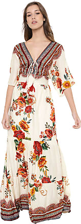 Dress To Vestido Dress to Longo Floral Off-white/Laranja