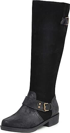 RAZAMAZA Women Fashion Flat Long Boots Zipper Riding Boots Round Toe Dress Boots Winter Shoes Black Size 40 Asian