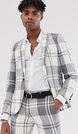 Twisted Tailor Giacca da abito super skinny a quadri grigia-Grigio