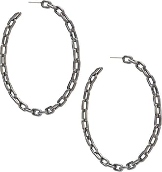 Jack Vartanian Par de brincos Argola Chain G com banho ródio negro - Metálico