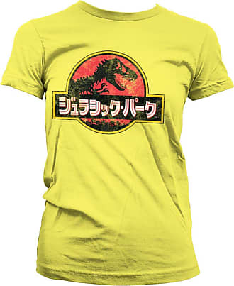 9aa57eb09 Jurassic Park Officially Licensed Jurassic Park - Japanese Distressed Logo  Women T-Shirt (Yellow