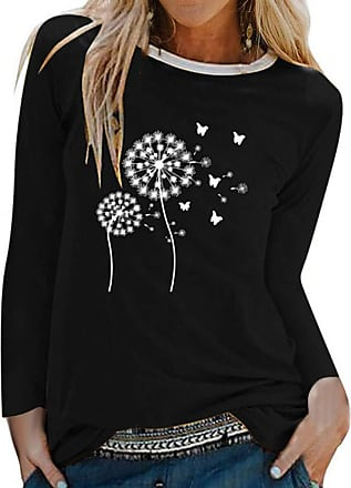 Dresswel Women Dandelion Graphic Print Long Sleeve Tops T Shirt Ladies Pullover Sweatshirt Blouses