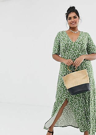 Asos Curve ASOS DESIGN Curve button through maxi tea dress with splits in ditsy print-Green