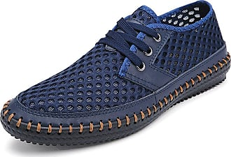 Jamron Mens Breathable Mesh Trainers Espadrilles Lace-Up Summer Sports Shoes Navy Blue SN16605 UK7