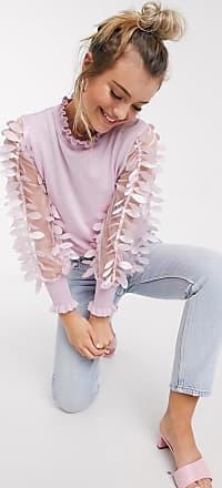 Qed London Pullover in Rosa mit Ärmel aus Netzstoff