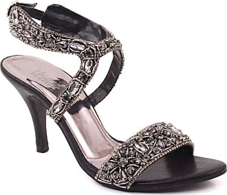 51dc8052216 Unze Unze Women Maya Crystal Embellished Diamantes Sandals UK Size 3-8 Black