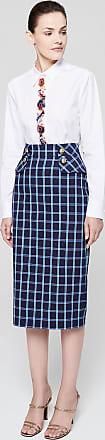 Escada Cotton Check Pencil Skirt