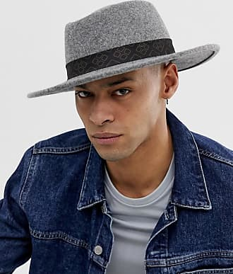 999ff5c6ea5c27 Asos wide brim pork pie in gray with vintage inspired band detail - Gray