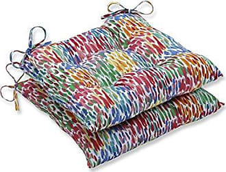 Pillow Perfect Outdoor | Indoor Make It Rain Zinnia Wrought Iron Seat Cushion (Set of 2), Blue 19 X 18.5 X 5