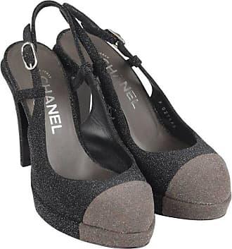 3884c76ecd5 Chanel Gray Two Tone Glitter Cap Toe Slingback Pumps Heels Size 36c