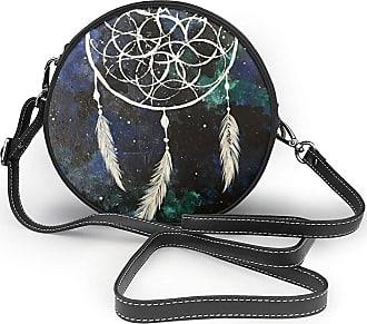 Turfed White Fantasy Dream Catcher Print Fashion Round PU Crossbody Handbag Round Shoulder Bag For Women Girls