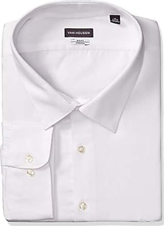 Van Heusen Mens Dress Shirts Tall Lux Sateen Stretch Solid Big Fit, White, 18 Neck 34-35 Sleeve