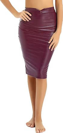 TiaoBug Womens PU Leather Pencil Skirt Slim Fit Elegant High Waist Midi Bodycon Office Skirts Maroon XXL