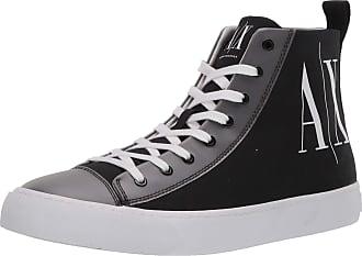 A X Armani Exchange Mens High Top Cotton Sneakers Hi Trainers, Black (Black+White Logo 00002), 9 UK