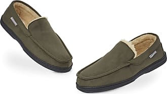 Dunlop Moccasins Slippers Men | Moccasin Loafers Faux Sheepskin Slippers with Rubber Sole | Classic Memory Foam Plush House Slippers | Breathable Indoor Outd