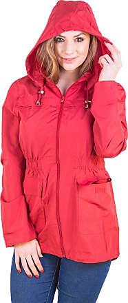 Love my Fashions Womens Plain Lightweight Showerproof Hooded Mac Ladies Waterproof Rain Jacket Long Sleeve Active Outdoor Zipped Raincoat Plus Size Red