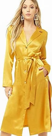 Forever 21 Forever 21 Belted Satin Shirt Dress Mustard