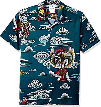 Hurley Mens Indo Graphic All Over Print Short Sleeve Button Up Shirt, deep Royal Blue M