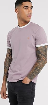 Farah Groves - Schmal geschnittenes Ringer-T-Shirt in Rosa
