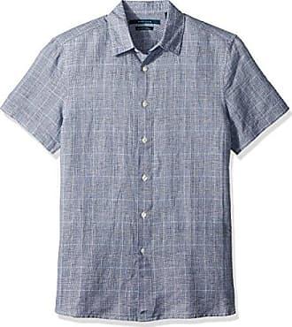 Perry Ellis Mens Plaid Linen Cotton Shirt, Bright Sapphire, Extra Large