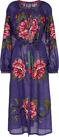 Vita Kin Vestido longo Gypsy Queen de linho - Roxo