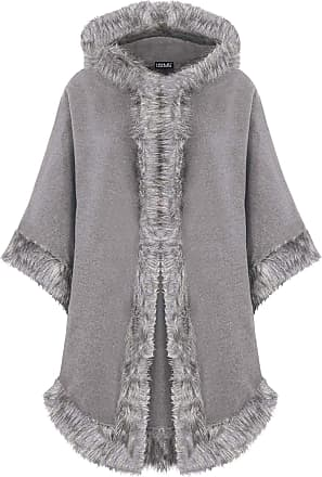 Love my Fashions Womens Plain Italian Lagenlook Quirky Layering Cape Poncho Ladies Faux Fur Hooded Trim Wool Cloak Wrap Winter Coat Size Fits UK Size 8-20 Light Grey