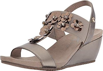 Anne Klein Womens Cassie Wedge Sandal, Metallic Taupe Synthetic, 6 M US