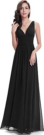 Ever-pretty Womens Sleeveless v Neck Elegant A Line Floor Length Formal Bridesmaid Dresses, Black., 16