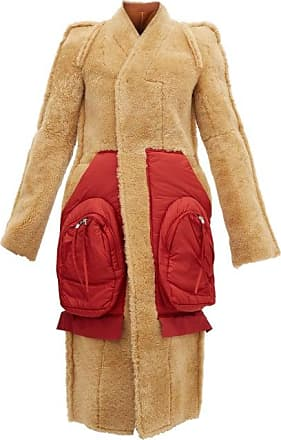Rick Owens Patch-pocket Single-breasted Shearling Coat - Womens - Tan Red