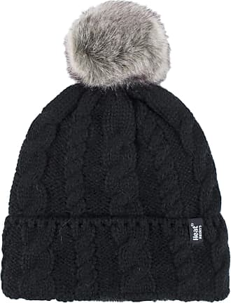 Heat Holders Ladies 1 Pack Heat Weaver Cable Knit Pom Pom Hat - Black - One Size