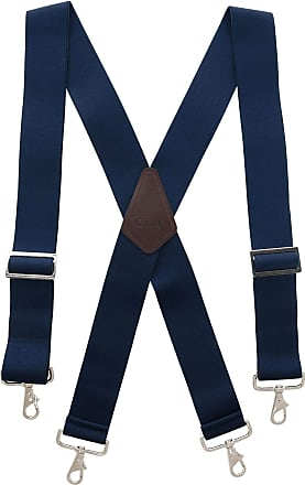 CTM Mens Industrial Terry Logger Braces with Metal Swivel Hook Ends, Navy