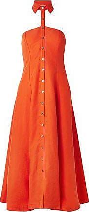 Mara Hoffman Mara Hoffman Woman Veronique Tencel And Linen-blend Halterneck Midi Dress Orange Size 0