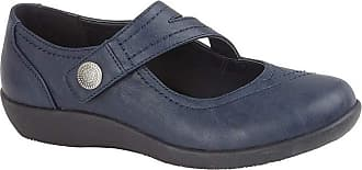 Boulevard Womens/Ladies X Wide EE Fit Touch Fastening Bar Shoe (8 UK) (Navy)