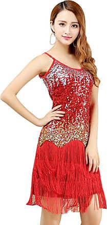 YiJee Women Sequin Latin Dresses Paisley Pattern Tiered Tassel Sling Dress Red