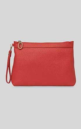 Whistles leather chester zip pouch bag - red