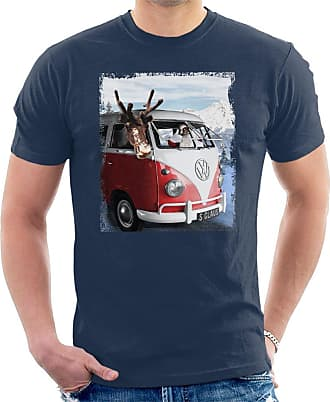 Volkswagen Santa and Reindeer T1 Camper Van Mens T-Shirt Navy Blue
