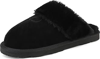 Dream Pairs Womens Faux Fur Slippers Ladies Slip On Suede Cozy Indoor Outdoor Winter House Shoes Sofie-05 Black Size 9.5-10 US/ 7.5-8 UK