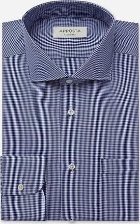 Apposta Camicia quadri piccoli blu 100% puro cotone fil-a-fil, collo stile collo francese aggiornato a punte corte