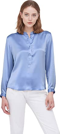 LilySilk Silk Blouses for Women Royal Half Placket Stand Collar Charmeuse 100 Real Silk Top French Blue Size S