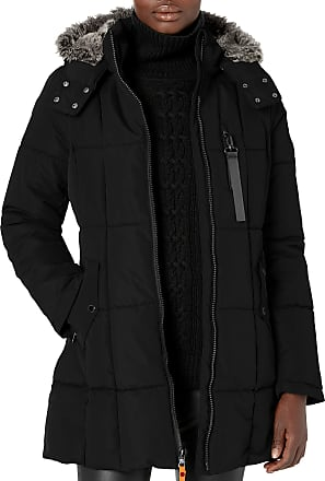 Nautica Womens Puffer with Faux Fur Lined Hood Down Alternative Coat, Black, Large