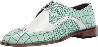 Stacy Adams Mens Trazino Croco-Lizard Print Wingtip Lace-Up Oxford, Light Aqua Multi, 9.5 M US